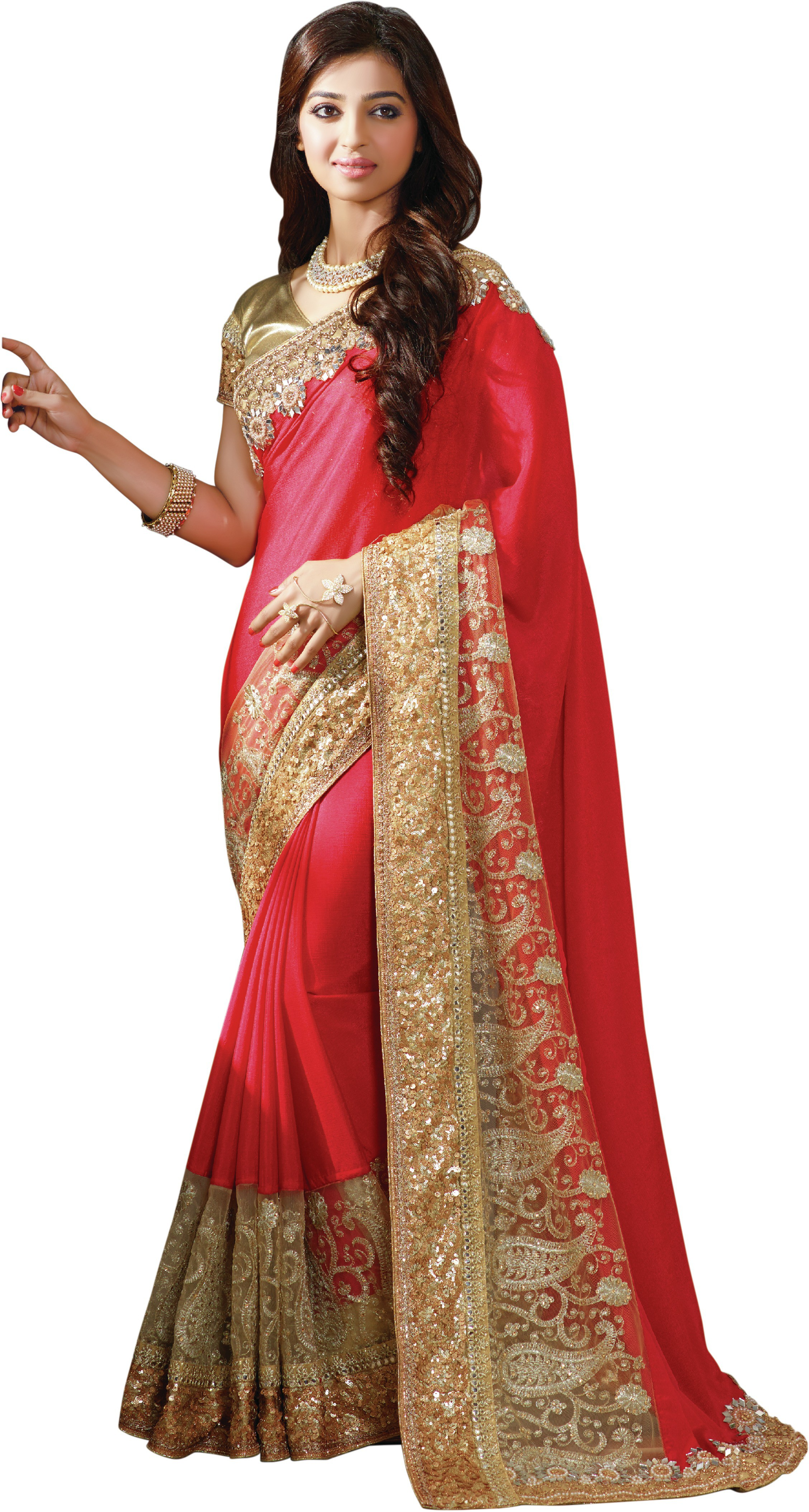 Chirag Sarees Embroidered Bollywood Crepe Saree(Red)