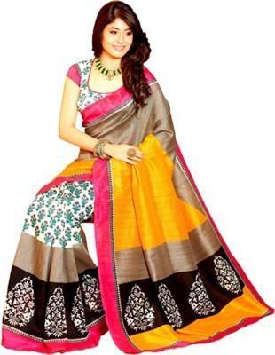 FashionCluess Printed Bhagalpuri Handloom Silk Sari