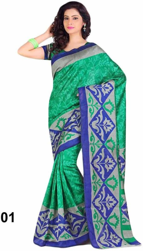 Vandv Shop Printed Bhagalpuri Handloom Silk Saree(Green)