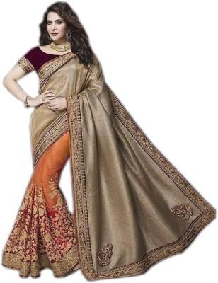 mGm Creation Self Design Fashion Jute, Net Sari