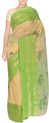 FaabIndia Embriodered Tant Handloom Cotton Sari