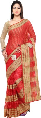 sarvagny clothing Self Design, Embellished Bollywood Kota Cotton, Silk Cotton Blend Saree(Red) at flipkart
