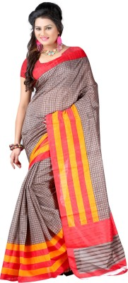 Yehii Checkered Fashion Silk Sari