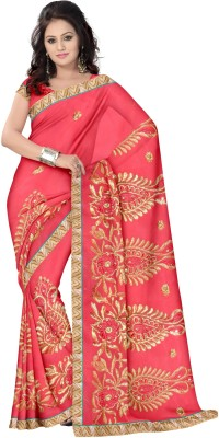 amrutha saree Embriodered Fashion Synthetic Chiffon Sari