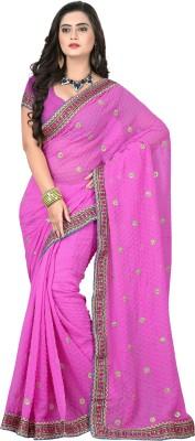 Crafts N Culture Solid Fashion Georgette Sari