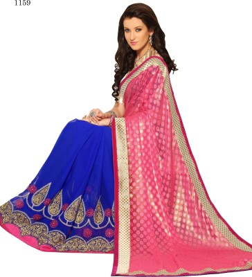 Allol Embriodered Fashion Synthetic Georgette, Chiffon Sari