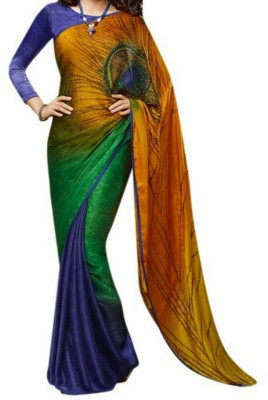 Highchoice Creation Embriodered, Solid Bollywood Handloom Georgette Sari