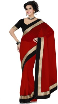 Favat Solid Daily Wear Georgette Sari