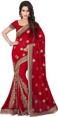 Chandra Silk Mills Embriodered, Embellished Fashion Georgette Sari
