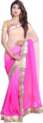 Hanis Solid, Self Design Fashion Handloom Chiffon Sari