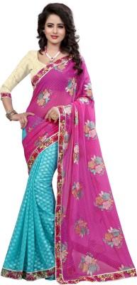 Pehnava Printed Bollywood Georgette, Jacquard Sari