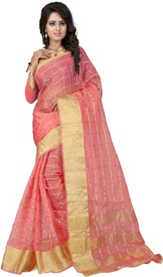 DIVINEFASHIONSTUDIO Self Design Kanjivaram Organza Sari