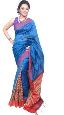 Tanjinas Plain, Chevron, Woven Phulia Handloom Cotton Sari
