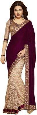Nidhik Plain Bollywood Velvet, Brasso Sari