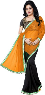 Vruticreation Self Design, Embriodered Fashion Georgette Sari