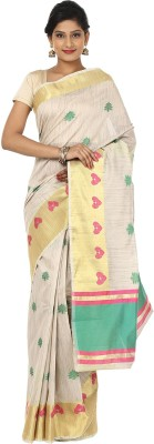 Seven Square Self Design Banarasi Linen Sari