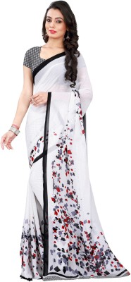 Avsar Prints Self Design, Plain, Solid, Woven, Checkered Bollywood Handloom Georgette Sari