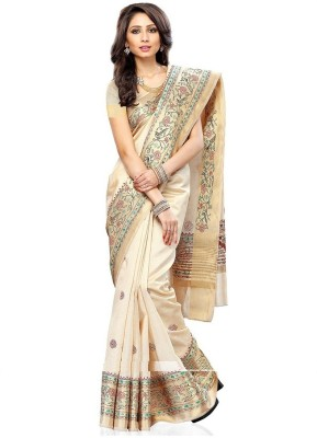 Royal Desi Apparel Woven Kanjivaram Tussar Silk Sari