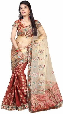 Royal Desi Apparel Embriodered Fashion Net Sari