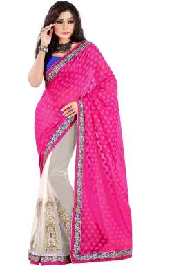 Pbs Prints Self Design, Embriodered Fashion Viscose, Georgette, Net Sari