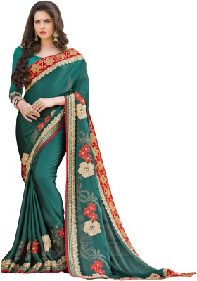 Jasleen Fashion Embellished, Embriodered Fashion Crepe, Lace, Brocade, Art Silk Sari