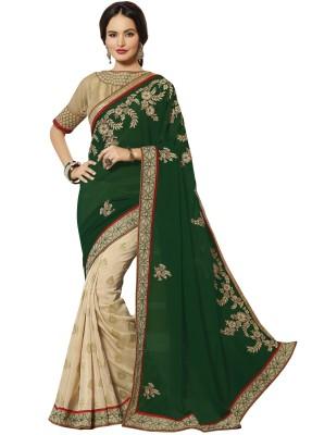 V-Style4u Embriodered Fashion Georgette, Jacquard Sari