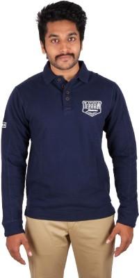Indian Terrain Solid, Printed Men's Flap Collar Neck Blue T-Shirt