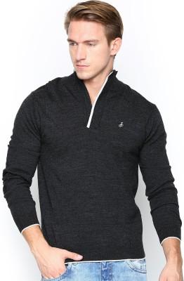 John Players Solid Casual Men's Black Sweater