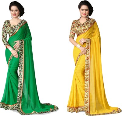 Indianbeauty Self Design, Solid Fashion Chiffon Saree(Pack of 2, Yellow, Green) at flipkart