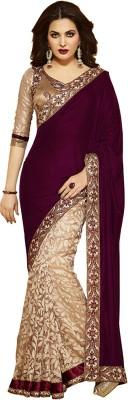 Pnfnetworkz Embriodered Bollywood Velvet, Net Sari