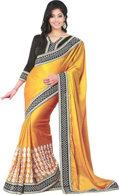 Jiya Fashion Embriodered Fashion Satin Sari