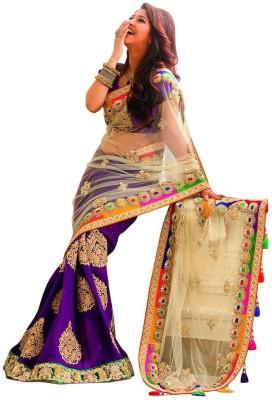 Vinayak Marketing Embriodered Banarasi Net, Polyester Sari
