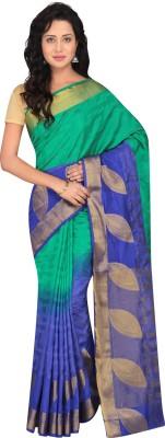 Taanshi Self Design Kanjivaram Tussar Silk Saree(Green, Blue) at flipkart