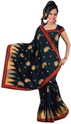 Myfab Embriodered Fashion Synthetic Crepe Sari