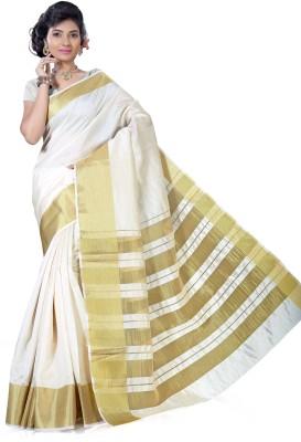 Alankrita Self Design Kanjivaram Tussar Silk, Silk, Art Silk Saree(Beige) at flipkart