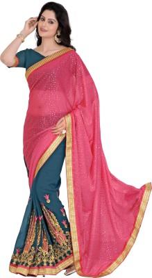 Blissta Embriodered, Printed Fashion Lycra, Georgette Sari