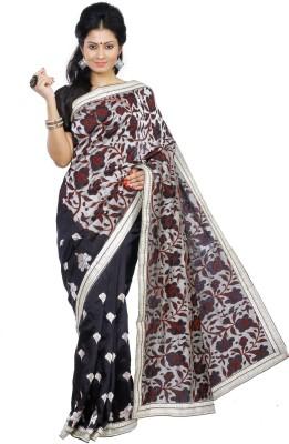 Crochetin Self Design Fashion Art Silk Sari