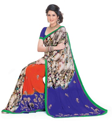 Indianbeauty Printed, Embroidered Bollywood Georgette Sari(Multicolor)