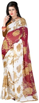 PINK SISLY Floral Print Daily Wear Georgette Sari
