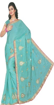MANSHI FASHION Embriodered Fashion Silk Sari
