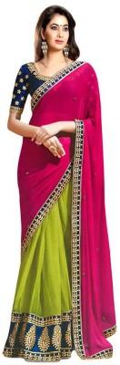 Jay Belnath Creation Embriodered Maheshwari Pure Chiffon Sari