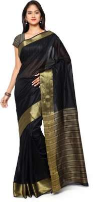 Saara Striped Fashion Cotton, Linen Saree(Gold, Black) at flipkart