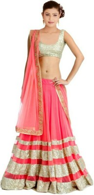 Giftsnfriends Embriodered Lehenga Saree Georgette Sari