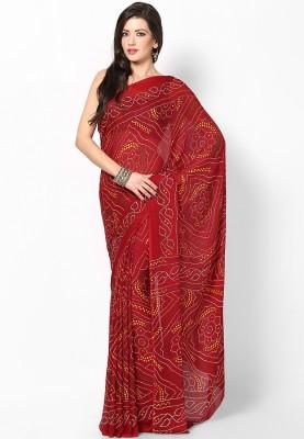 SunShine Self Design Bandhani Georgette Sari