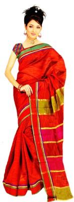 Fashion Fiasta Striped Fashion Cotton Linen Blend Sari