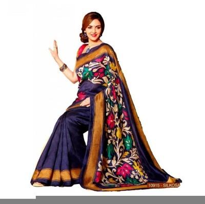 Lime Printed Fashion Handloom Art Silk Sari