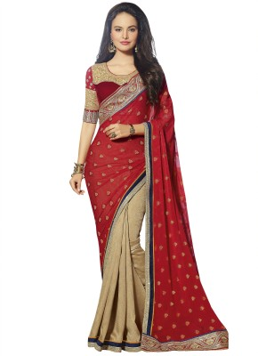 RJP Embriodered Fashion Georgette, Jacquard, Raw Silk Sari