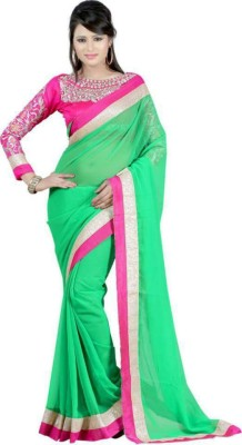 The Core Fashion Plain Fashion Chiffon Sari