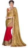 Ashika Printed Fashion Satin Saree (Gold...