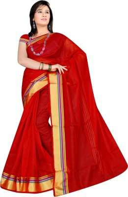 ZofeyFashion Plain Chanderi Polycotton Sari